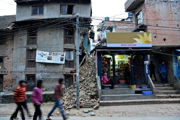 Collapsed house and shop, Patan