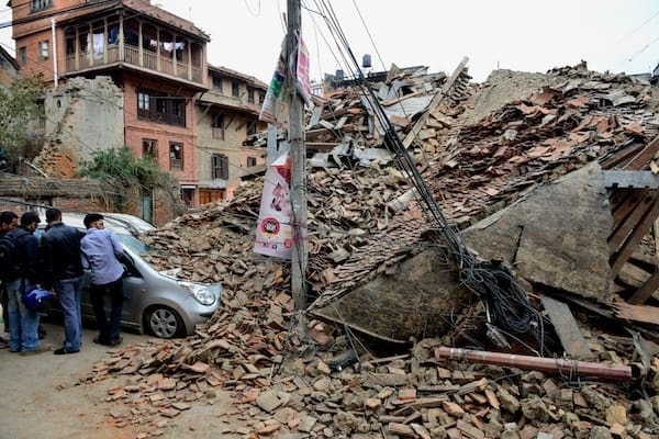 Collapsed temple and car, Patan