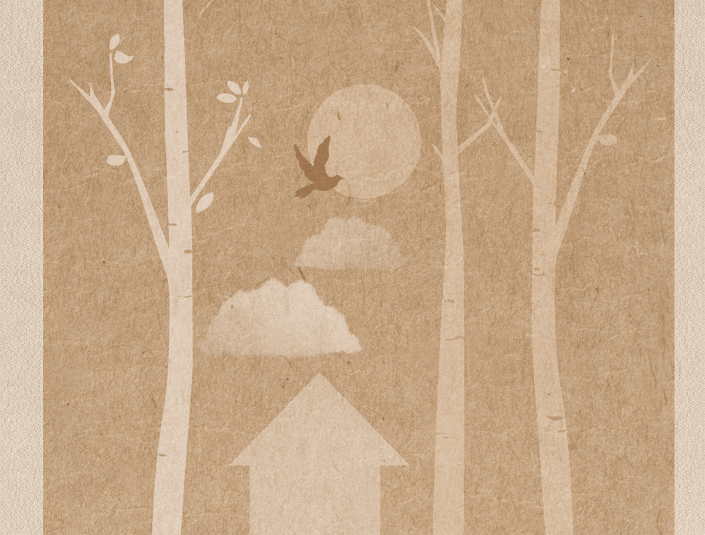 Go Love the World, Illustration of trees, house, bird in flight, clouds and moon.